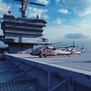 Armed forces helicopters on aircraft carrier