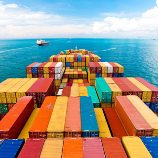 Merchant navy ship with telehealth solution and shipping containers