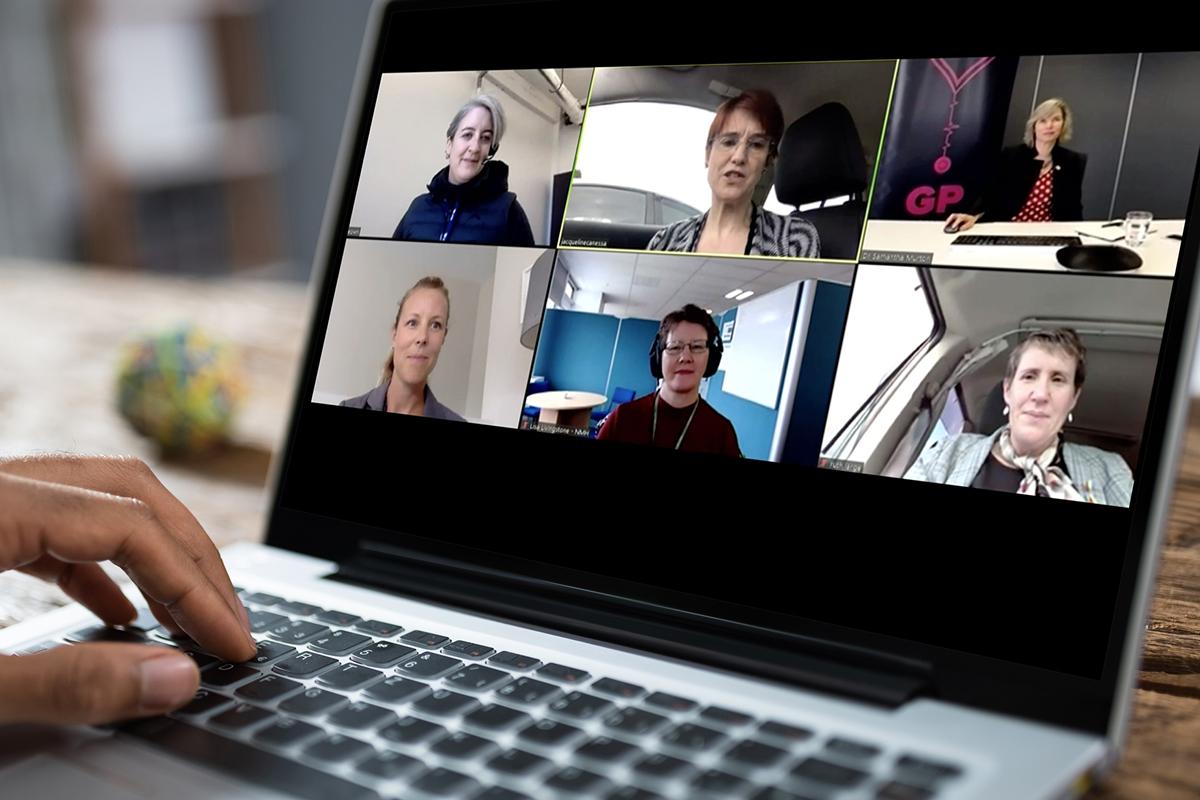 Physicians on laptop webinar telehealth