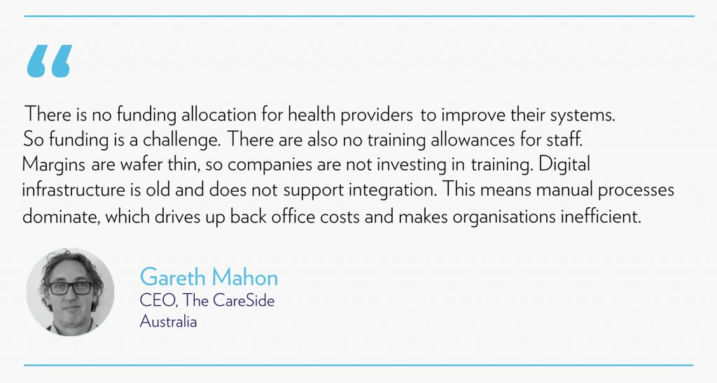 Quote about funding challenges from Gareth Mahon the CEO of The CareSide Australia
